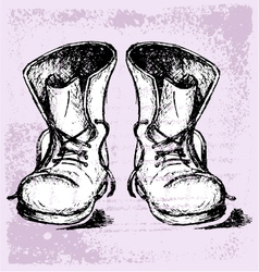 Old and dirty boots vector