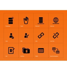 Database icons on orange background vector
