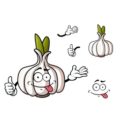 Cartoon garlic vegetable with green sprouts vector