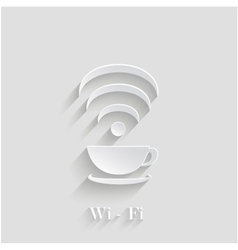 3d coffee cup waves wi-fi design element with vector