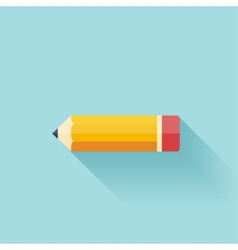 Pencil flat icon study background vector