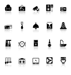 Cafe and restaurant icons with reflect on white vector