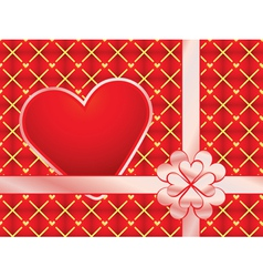 Gift wrapper with red valentine vector