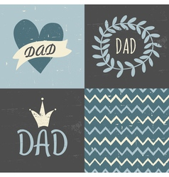 Fathers day greting cards seamless pattern set vector