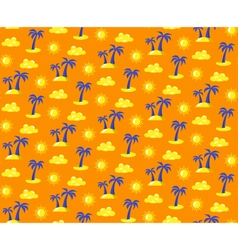 Seamless bright summer pattern with palms and suns vector