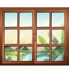 A closed window near the pond vector