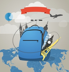 Touristic backpack with presents vector