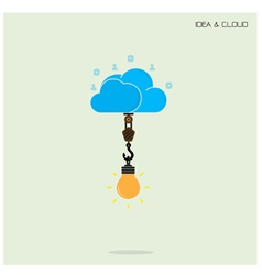 Flat cloud technology computing and creative bulb vector