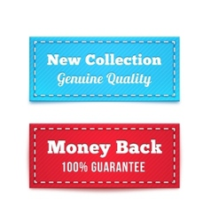 New collection and money back tag badges vector
