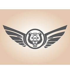 Lion head with wings vector