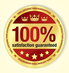 Red 100 satisfaction guaranteed badge with golden vector