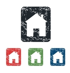House sign grunge icon set vector
