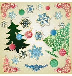Scrapbooking set for christmas vector