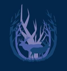 Deep in the forest deer vector