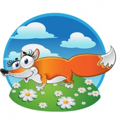 Cheerful fox on the background vector