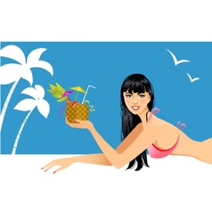 Beautiful woman on the beach with cocktail vector