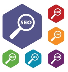 Seo search rhombus icons vector