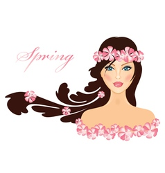 Spring of girl with flowers vector