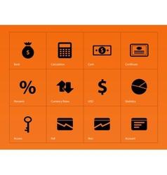 Economy icons on orange background vector