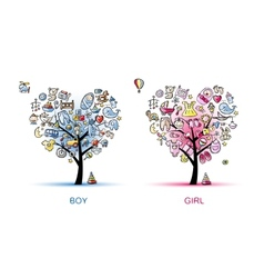 Heart shaped trees design for baby boy and girl vector