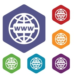Www world rhombus icons vector