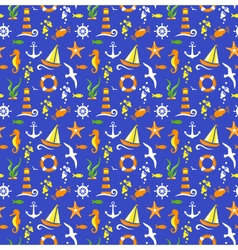 Seamless summer sea pattern isolated on blue vector