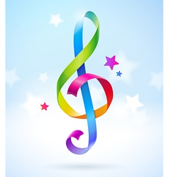 Colored ribbons in the shape of treble clef vector