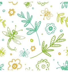 Abstract seamless background flowers and insects vector