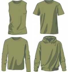 Set of khaki shirts vector