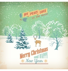 Christmas retro greeting card vector