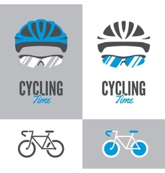 Bicycle cycling helmet and glasses vector