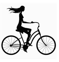 Silhouette girl on bike vector