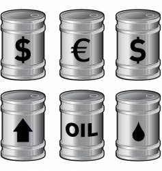 Shiny oil barrels with insignia vector