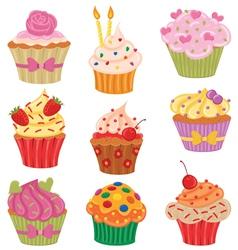 Cupcakes set vector