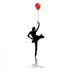 Silhouette of woman ballet dancer vector