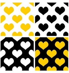 Yellow black and white hearts background set vector