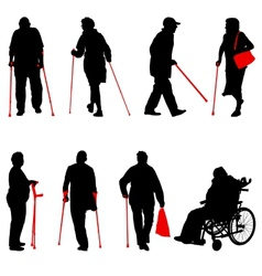 Silhouette of disabled people on a white vector