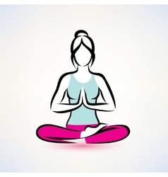 Yoga lotus pose women wellness concept vector