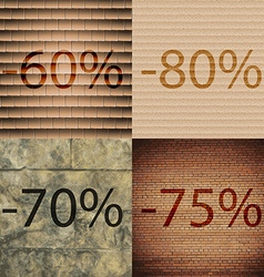 80 70 75 icon set of percent discount on abstract vector