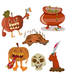 Halloween color funny set vector