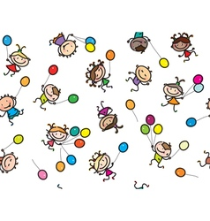 Kids balloons seamless vector