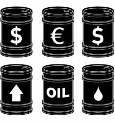 Oil barrels with insignia vector