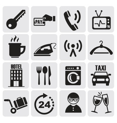 Hotel and rest icons set vector