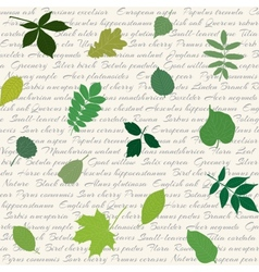Seamless pattern with leaves on text background vector