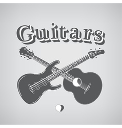 Acoustic and bass guitars vector