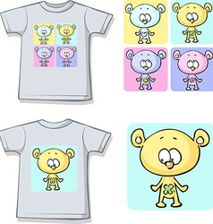 Cute teddy bears on shirt vector