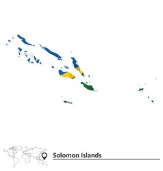 Map of solomon islands with flag vector