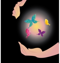 Being shone sphere with butterflies in hands vector
