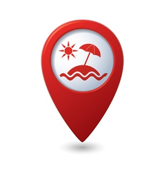 Beach icon on map pointer vector