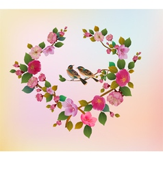Love birds sakura spring valentines day vector